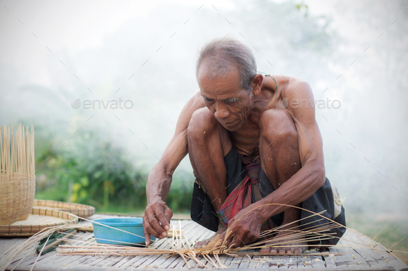 Older people with basketry - Stock Photo - Images