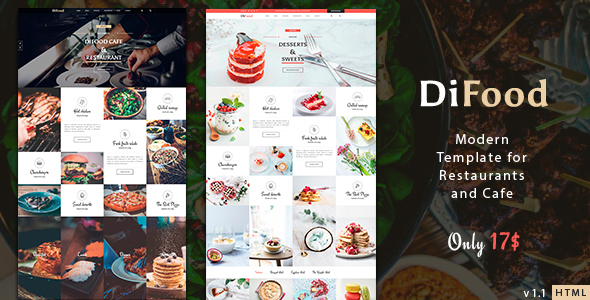 DiFood - Restaurant And Cafe HTML Template - Food Retail