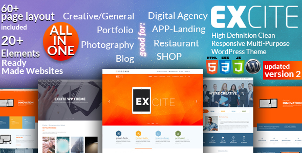 Excite - Clean Responsive Multi-Purpose WordPress Theme - Creative WordPress