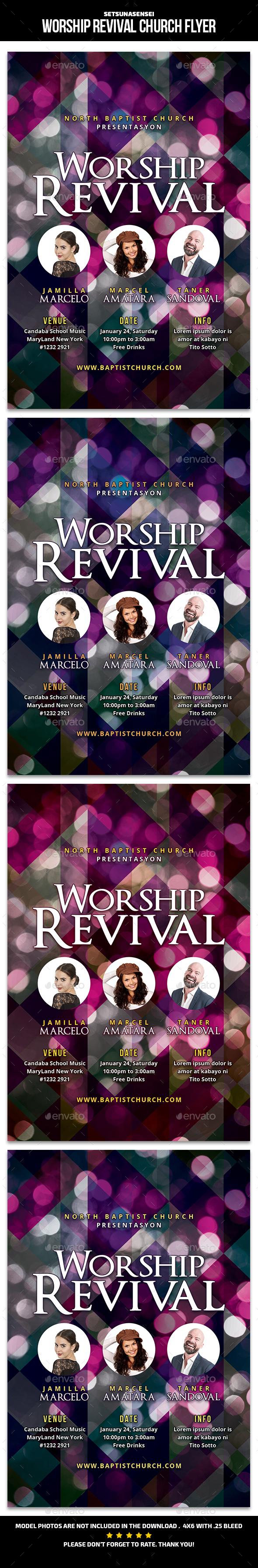Worship Revival Church Flyer - Church Flyers