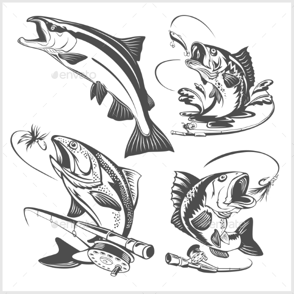 Vintage Trout Fishing Emblems and Design Elements - Animals Characters