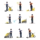 Flat Vector Set of Professional Cleaners - GraphicRiver Item for Sale