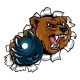 Bear Holding Bowling Ball Breaking Background