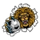 Lion Holding Soccer Ball Breaking Background - GraphicRiver Item for Sale