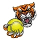 Tiger Holding Tennis Ball Mascot - GraphicRiver Item for Sale