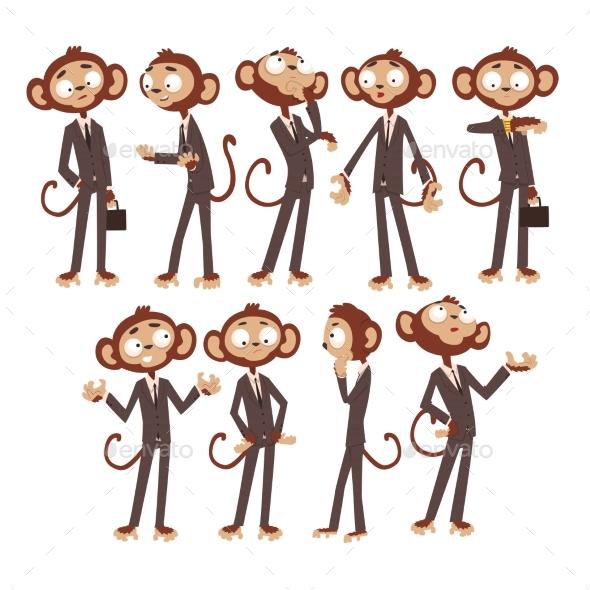 Monkey Businessman Cartoon - People Characters