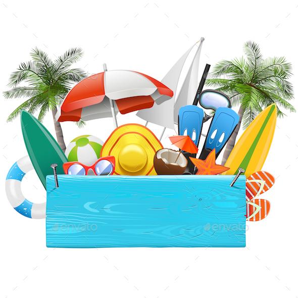Vector Beach Blue Plank - Travel Conceptual