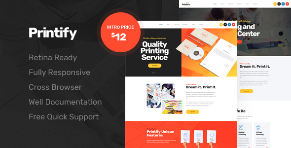 Image of Printify - Attention Grabbing Printing Company HTML Template