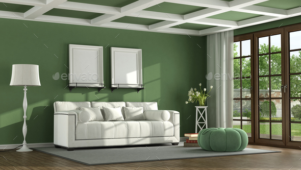 Green classic living room - Stock Photo - Images