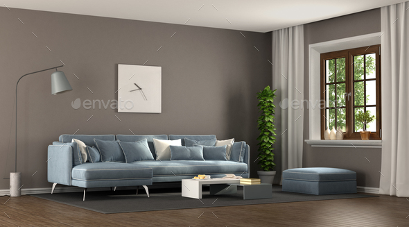 Brown and blu elegant living room - Stock Photo - Images