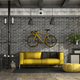 Black and yellow living room in a loft - PhotoDune Item for Sale