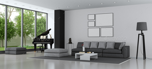modern living room with sofa and grand piano stock photo