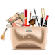 Vector Golden Cosmetic Bag with Cosmetics