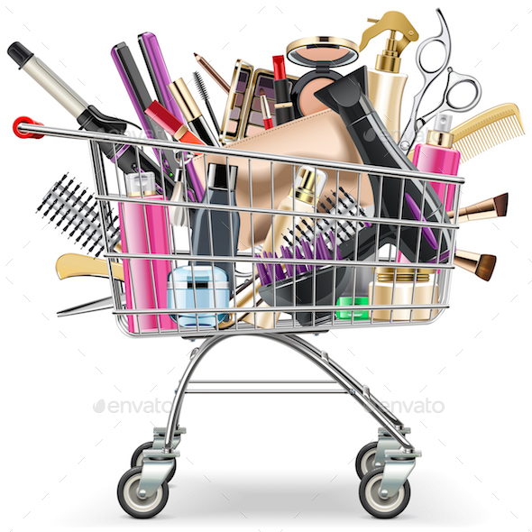 Vector Supermarket Cart with Professional Cosmetics - Retail Commercial / Shopping