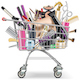 Vector Supermarket Cart with Professional Cosmetics - GraphicRiver Item for Sale