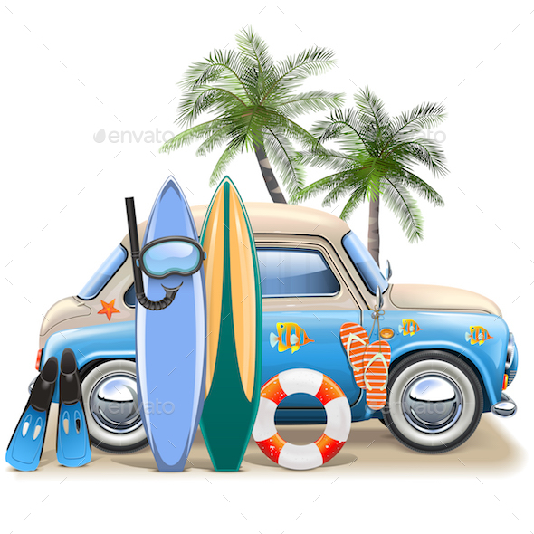 Vector Surfing Concept with Blue Car - Travel Conceptual