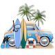 Vector Surfing Concept with Blue Car - GraphicRiver Item for Sale