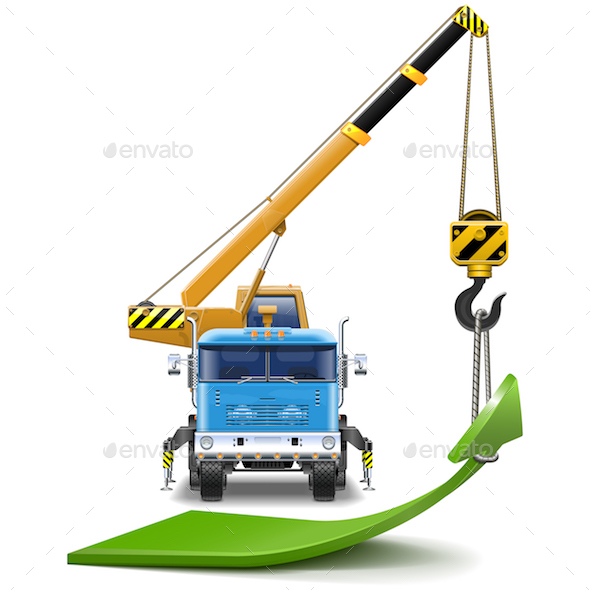Vector Truck Crane with Green Arrow - Concepts Business