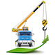 Vector Truck Crane with Green Arrow - GraphicRiver Item for Sale