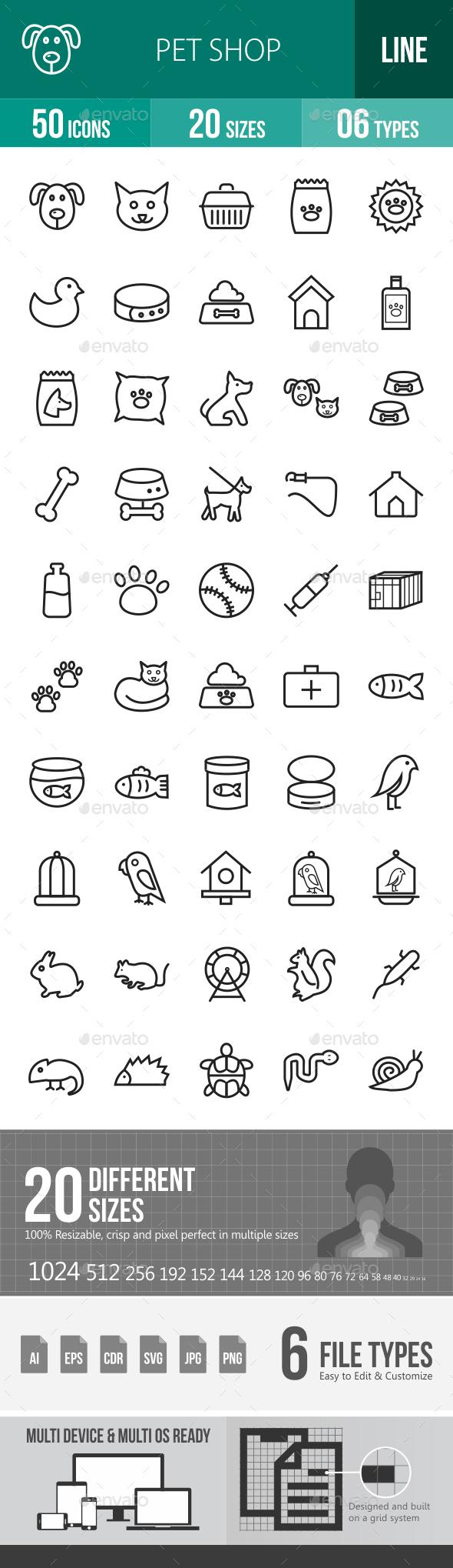 Pet Shop Line Icons - Icons