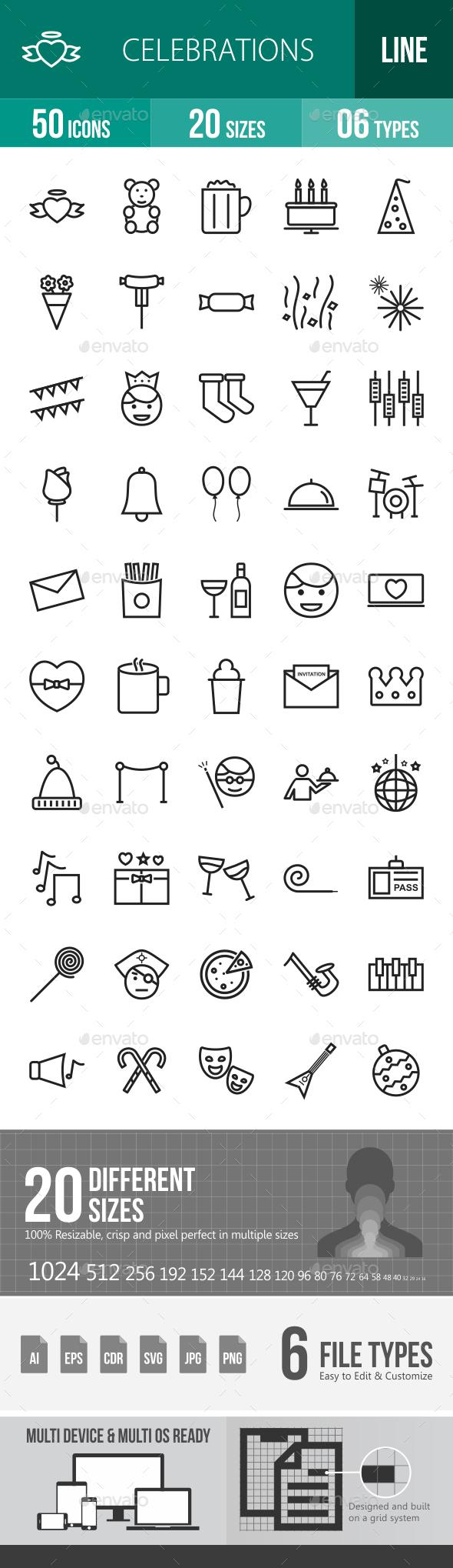 Celebrations Line Icons - Icons