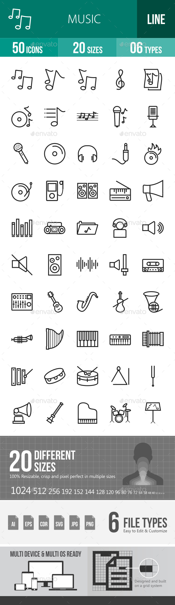 Music Line Icons - Icons