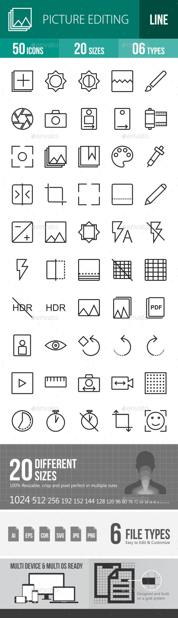 Picture Editing Line Icons - Icons