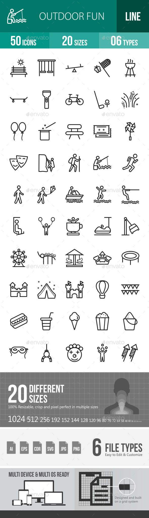 Outdoor Fun Line Icons - Icons