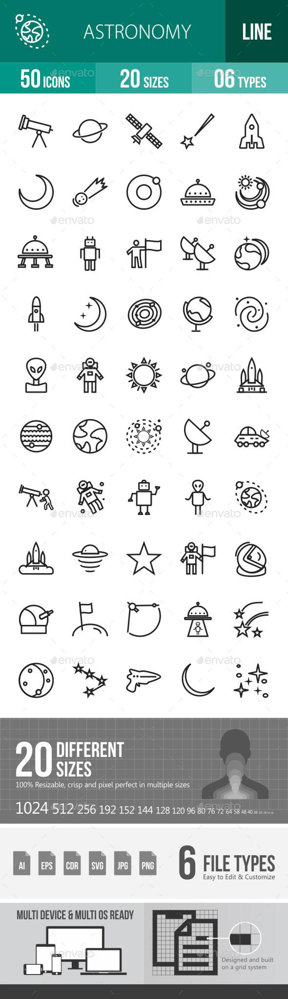 Astronomy Line Icons - Icons