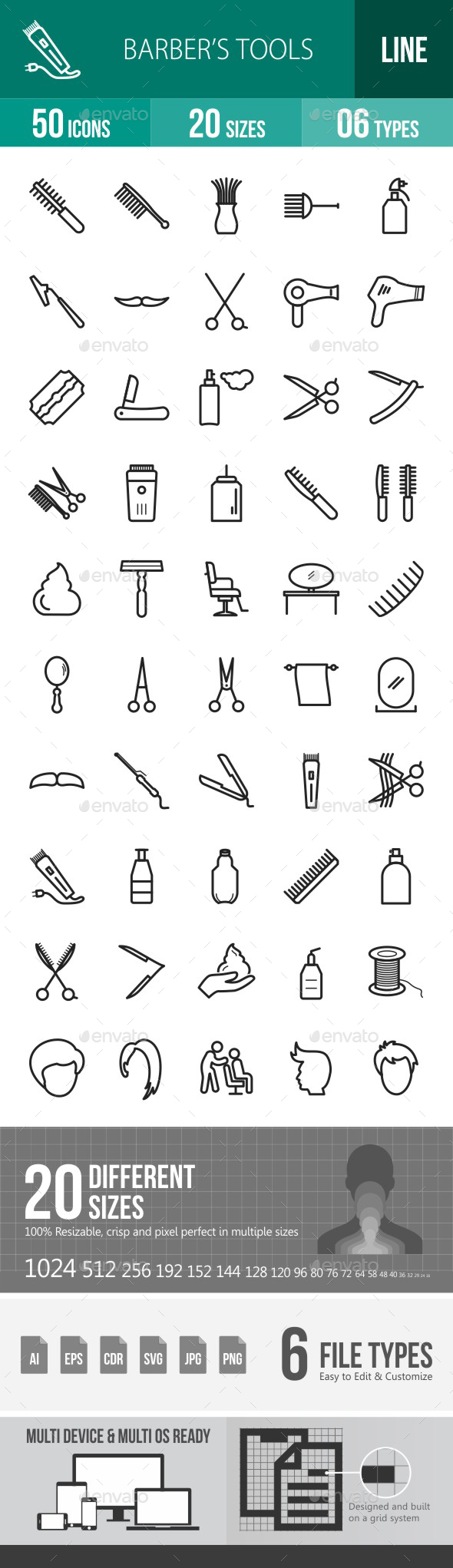 Barber's Tools Line Icons - Icons