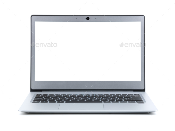 Laptop with blank screen isolated on white background - Stock Photo - Images