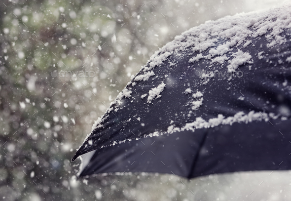 Snow flakes falling on umbrella - Stock Photo - Images