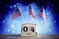 4th of July American Independence Day calendar and flags