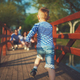 funny boy running on wooden bridge - PhotoDune Item for Sale