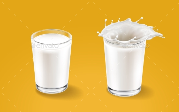Milk and Transparent Cup Elements - Food Objects