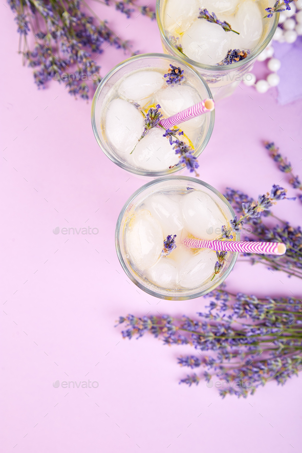 Lavender lemonade with lemon - Stock Photo - Images
