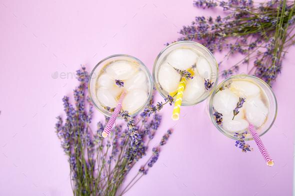 Lavender lemonade with lemon - Stock Photo - Images