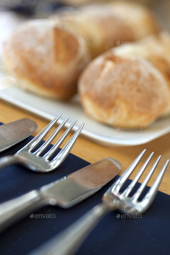 Bread and cutlery - Stock Photo - Images