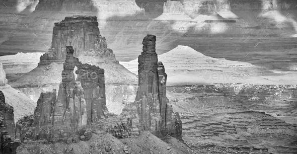 Deserted landscape in Canyonlands National Park, USA. - Stock Photo - Images