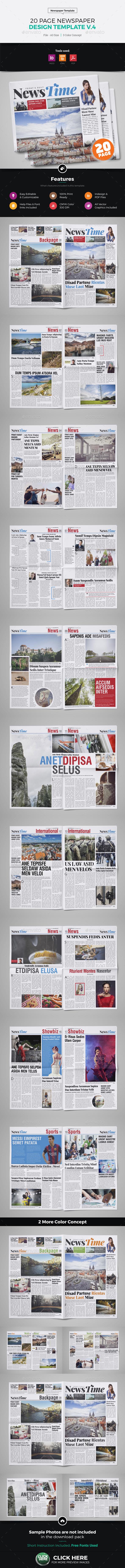 20 Page Newspaper Design v4 - Newsletters Print Templates