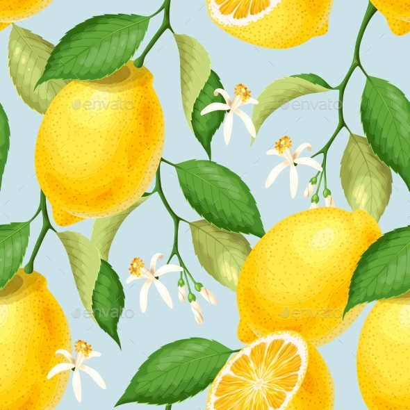 Seamless Pattern with Lemons - Miscellaneous Vectors