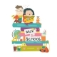 Boy and Girl Sitting on Piles of Books - GraphicRiver Item for Sale