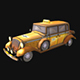 Stylized taxi car - low poly