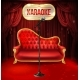 Vector Karaoke Concept Red Sofa with Microphone - GraphicRiver Item for Sale