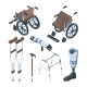 Isometric Illustrations of Wheelchair and Other