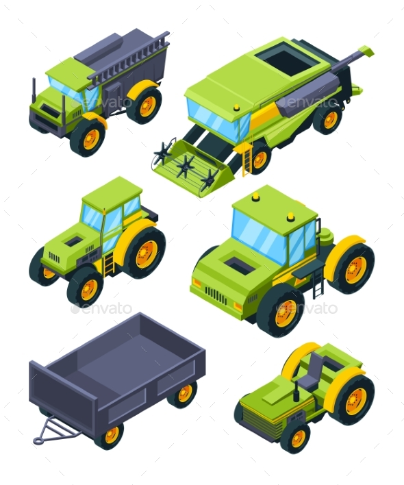 Isometric Illustrations of Combine Tractor - Man-made Objects Objects