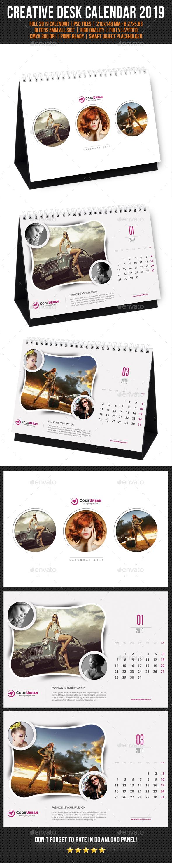 Creative Desk Calendar 2019 V07 - Calendars Stationery
