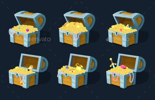Vector Illustration of Cartoon Chest with Treasure - Man-made Objects Objects