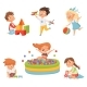 Preschool Children Playing with Various Toys - GraphicRiver Item for Sale