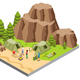 Isometric Mountain Camping Template